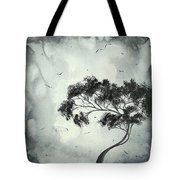 Abstract Art Original Black And White Surreal Landscape Painting Lost Moon By Madart Tote Bag by Megan Duncanson