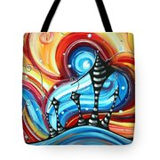 Abstract Art Original Colorful Funky House Painting Home On The Hill By Madart Tote Bag by Megan Duncanson