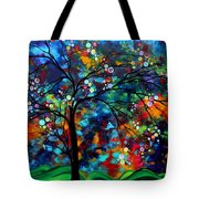 Abstract Art Original Landscape Painting Bold Colorful Design Shimmer In The Sky By Madart Tote Bag by Megan Duncanson