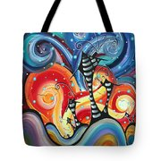 Abstract Art Whimsical Cityscape Funky Houses Homeland By Madart Tote Bag by Megan Duncanson