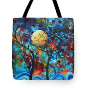 Abstract Contemporary Colorful Landscape Painting Lovers Moon By Madart Tote Bag by Megan Duncanson