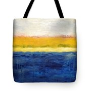 Abstract Dunes with Blue and Gold Tote Bag by Michelle Calkins