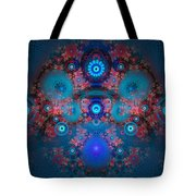 Abstract Fractal Art Blue And Red Tote Bag by Matthias Hauser