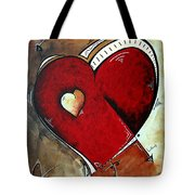 Abstract Heart Original Painting Valentines Day Heart Beat By Madart Tote Bag by Megan Duncanson