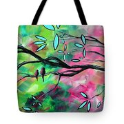 Abstract Landscape Bird and Blossoms Original Painting BIRDS DELIGHT by MADART Tote Bag by Megan Duncanson