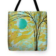 Abstract Landscape Painting Animal Print Pattern Moon And Tree By Madart Tote Bag by Megan Duncanson