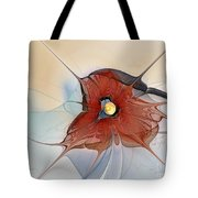 Abstract Red Flower Tote Bag by Karin Kuhlmann