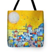 ABSTRACT SANTORINI - OIA BEFORE SUNSET Tote Bag by ANA MARIA EDULESCU