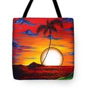 Abstract Surreal Tropical Coastal Art Original Painting Tropical Resonance By Madart Tote Bag by Megan Duncanson