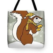 Acorn Winter Tote Bag by Christy Beckwith