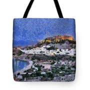 Acropolis Village And Beach Of Lindos Tote Bag by George Atsametakis