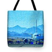 Aeroplane At Airport Tote Bag by Antony McAulay