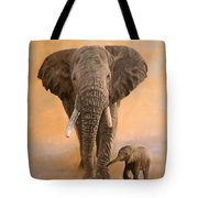 African Elephants Tote Bag by David Stribbling