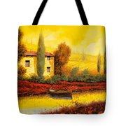 Al Tramonto Sul Fiume Tote Bag by Guido Borelli