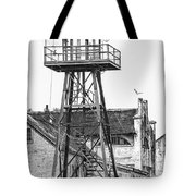 Alcatraz Guard Lookout Tower Tote Bag by Erik Brede
