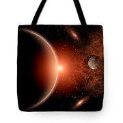 Alien Sunrise On A Distant Alien World Tote Bag by Mark Stevenson