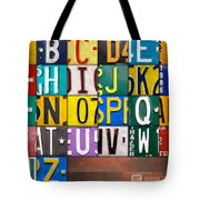 Alphabet License Plate Letters Artwork Tote Bag by Design Turnpike