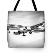 Amercian Airlines 757 Airplane In Black And White Tote Bag by Paul Velgos