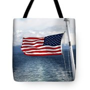 American Flag Blowing In The Wind At Sea Tote Bag by Jessica Foster