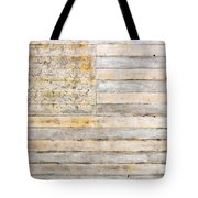 American Flag On Distressed Wood Beams White Yellow Gray And Brown Flag Tote Bag by Design Turnpike