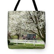 Amish Buggy Fowering Tree Tote Bag by David Arment