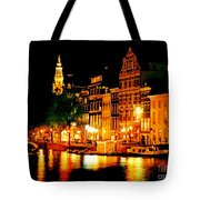 Amsterdam At Night Four Tote Bag by John Malone