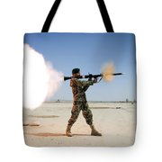 An Afghan National Army Soldier Fires Tote Bag by Stocktrek Images