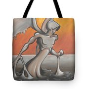 An Angel Out Of Oil Tote Bag by Jeffrey Oleniacz