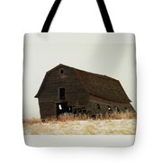 An Old Leaning Barn In North Dakota Tote Bag by Jeff Swan