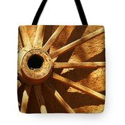 An Old Wagon Wheel In Carillos New Mexico Tote Bag by Jeff Swan