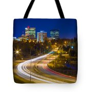 Anchorage Skyline Tote Bag by Inge Johnsson