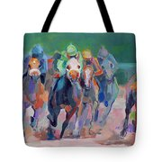 And Down The Stretch They Com Tote Bag by Kimberly Santini