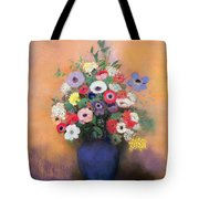 Anemones And Lilac In A Blue Vase Tote Bag by Odilon Redon
