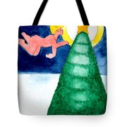 Angel And Christmas Tree Tote Bag by Genevieve Esson
