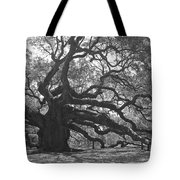 Angel Oak II - Black And White Tote Bag by Suzanne Gaff
