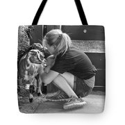 Animal - Goat - A Girl And Her Goat Tote Bag by Mike Savad
