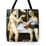 Annunciation Interior With Table Tote Bag by Caroline Jennings