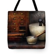 Apothecary - Pestle and Drawers Tote Bag by Mike Savad