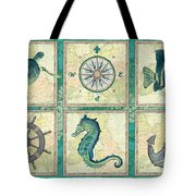 Aqua Maritime Patch Tote Bag by Debbie DeWitt