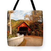 Architecture - Woodstock Vt - Entering Woodstock Tote Bag by Mike Savad