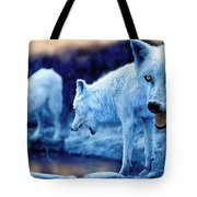 Arctic White Wolves Tote Bag by Mal Bray