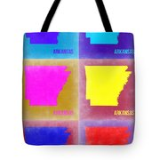 Arkansas Pop Art Map 2 Tote Bag by Naxart Studio