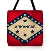 Arkansas State Flag Art On Worn Canvas Tote Bag by Design Turnpike