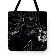 As Aphrodite Coming From Sea Foam. Black Art Tote Bag by Jenny Rainbow