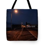 Asbury Park Boardwalk At Night Tote Bag by Bill Cannon