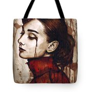 Audrey Hepburn - Quiet Sadness Tote Bag by Olga Shvartsur