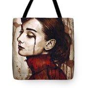 Audrey Hepburn - Quiet Sadness Tote Bag by Olga Shvartsur