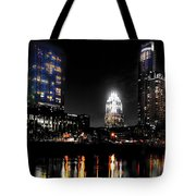 Austin Night Skyline Reflections Tote Bag by Gary Gibich