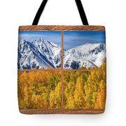 Autumn Aspen Tree Forest Barn Wood Picture Window Frame View Tote Bag by James BO  Insogna