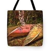 Autumn Canoes Tote Bag by Debra and Dave Vanderlaan